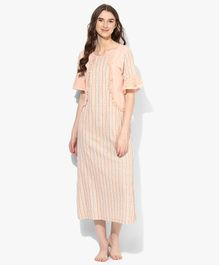 9teenAGAIN Floral Print Half Ruffled Sleeves With Lace Detailing Maternity Night Gown - Light Pink
