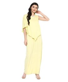 472888092b4f5 9teenAGAIN Solid Diamond Stud Detailing Half Sleeves Maternity Dress -  Yellow