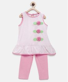 Tambourine Striped & Flower Applique Sleeveless Top With Leggings - Light Pink