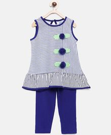 Tambourine Striped & Flower Applique Sleeveless Top With Leggings - Dark Blue