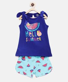 Tambourine Text Printed Sleeveless Top With Watermelon Printed Shorts - Blue