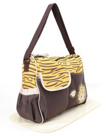 Diaper Bag With Changing Mat Tiger Print - Brown and Yellow