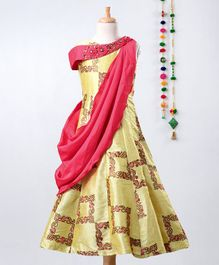 Betty By Tiny Kingdom Embroidered Sleeveless Saree Style Gown - Yellow & Pink