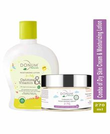 Donum Naturals Baby Combo Pack of Oatmeal & Vitamin F Lotion & Therapeutic Dry Sensitive Skin Cream - 220 ml & 50 gm