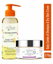 Donum Naturals Baby Combo Pack Of Tear Free Shampoo  & Dry Sensitive Skin Moisturizing Cream - 220 ml & 50 gm