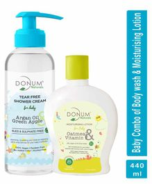 Donum Naturals Baby Combo Pack of Tear Free Shower Cream and Oatmeal Vitamin F Lotion - 220 ml