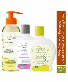 Donum Naturals Baby Combo of Tear Free Shampoo , Therapeutic Dry Sensitive Skin Lotion & Oatmeal Vitamin F Moisturizing Lotion - Each  220 ml