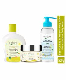 Donum Naturals Baby Combo of Moisturising Saffron Cream Oatmeal Lotion and Shower Cream