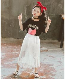Pre Order - Awabox Alphabet Printed Half Sleeves T-Shirt With Flower Embroidered Skirt  - Black & White