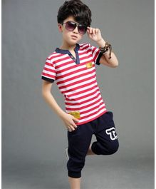 Pre Order - Awabox Striped Half Sleeves T-Shirt With Shorts  - Red & Blue