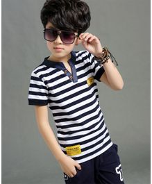 Pre Order - Awabox Striped Half Sleeves T-Shirt With Shorts  - Blue