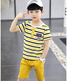 Pre Order - Awabox Striped Half Sleeves T-Shirt With Shorts  - Yellow