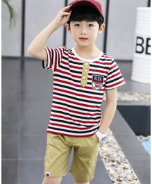 Pre Order - Awabox Striped Half Sleeves T-Shirt With Shorts  - Red