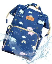 Polka Tots Backpack Style Waterproof Elephant Print Diaper Bag - Blue