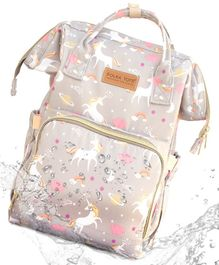 Polka Tots Backpack Style Waterproof Unicorn Print Diaper Bag - Grey