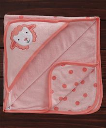 Pink Rabbit Hooded Towel Sheep Patch - Peach