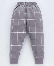 Pink Rabbit Full Length Lounge Pants Checks Print - Grey