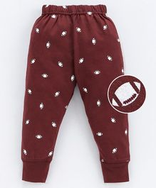 Pink Rabbit Full Length Lounge Pants Rugby Ball Print - Brown