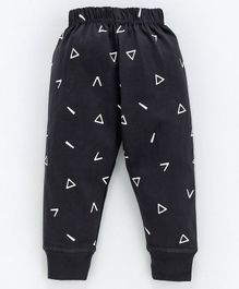 Pink Rabbit Full Length Lounge Pants Triangle Print - Charcoal Black