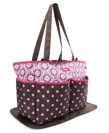 Diaper Bag With Changing Mat Baby Polka Dots Print - Pink Brown
