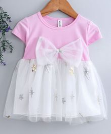 Kookie Kids Half Sleeves Sequin Embellished Frock With Bow Motif - Pink White