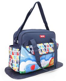 Diaper Bag With Changing Mat Multi Print - Navy Blue