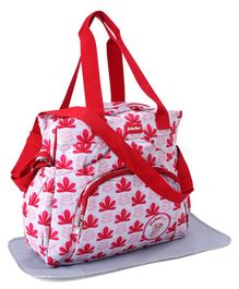 Diaper Bag With Changing Mat Flower Printed - Red & White