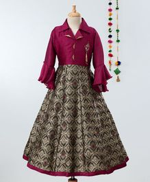 Betty By Tiny Kingdom Full Sleeves Collar Neck Motif Print Brooch Decorated Gown - Maroon