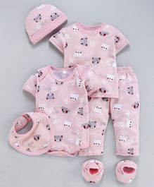 MFM Half Sleeves Printed 6 Piece Clothing Set Bear Print - Pink