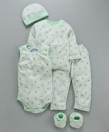 MFM 5 Piece Baby Clothing Set Lion Print - Mint Green