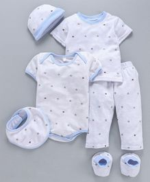 MFM Half Sleeves Printed 6 Piece Clothing Set Crown Print - White Blue