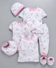 MFM 7 Piece Clothing Set Teddy Print - Pink White