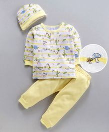 MFM Full Sleeves Tee & Lounge Pant With Cap Animal Print - Yellow