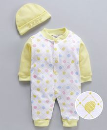 MFM Full Sleeves Romper With Cap Polka Dot Print - Yellow