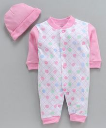MFM size 6-9m Rompers with cap Egg shape print Full sleeves Boy- Pink