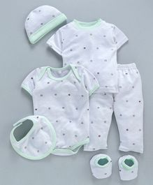 MFM Half Sleeves Printed 6 Piece Clothing Set Crown Print - White Green