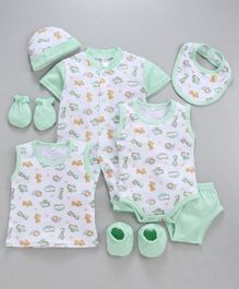 MFM 6 Piece Clothing Set Animals Print - Green White