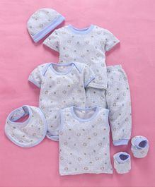 MFM 7 Piece Baby Clothing Gift Set Animal Print - Light Blue