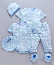 MFM 6 Piece Clothing Set Bear Print - Blue White
