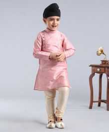 Dapper Dudes Full Sleeves Motif Embroidered Kurta With Pyjama - Pink & Beige