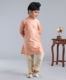 Dapper Dudes Full Sleeves Motif Embroidered Kurta With Pyjama - Peach & Beige