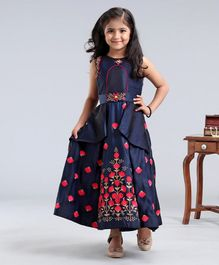 Enfance Sleeveless Floral Embroidered Dress - Navy Blue