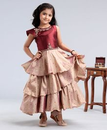 Enfance Sleeveless Floral Brooch Decorated Layered Gown - Maroon
