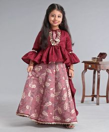 Enfance Sleeveless Leaves Print Latkan Decorated Gown With Full Sleeves Shrug - Maroon