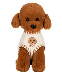 Dhoom Soft Toys Sitting Dog with Dress Brown - Height 32 cm