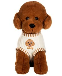 Dhoom Soft Toys Sitting Dog with Dress Brown- Height 40 cm