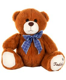 Dhoom Soft Toys Teddy Bear with Bow Brown - Height 27 cm