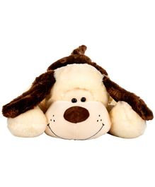 Dhoom Soft Toys Lying Dog Cream and Brown - Length 75 cm