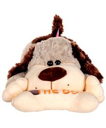 Dhoom Soft Toys Lying Dog with Bone Grey - Length 47 cm