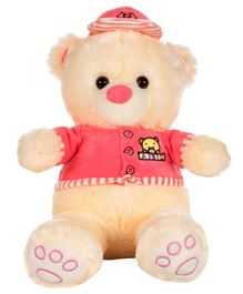 Dhoom Soft Toys Teddy Bear with Dress and Cap Pink - Height 33 cm